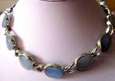 beau collier ancien bijou vintage couleur argent cabochon nacre bleu opaque 4454