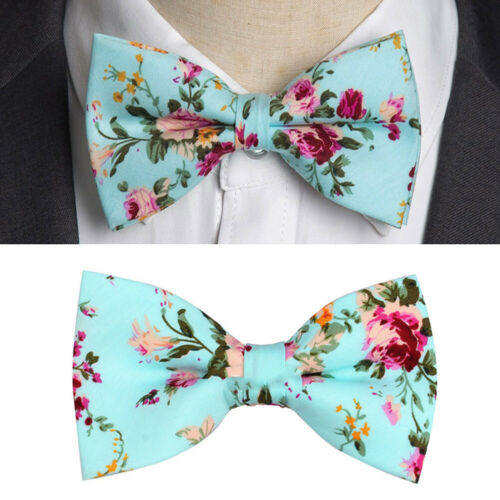 Classic Men/'s Pretied Bow Tie Pocket Square Set Silk Pink Flowers Wedding Woven