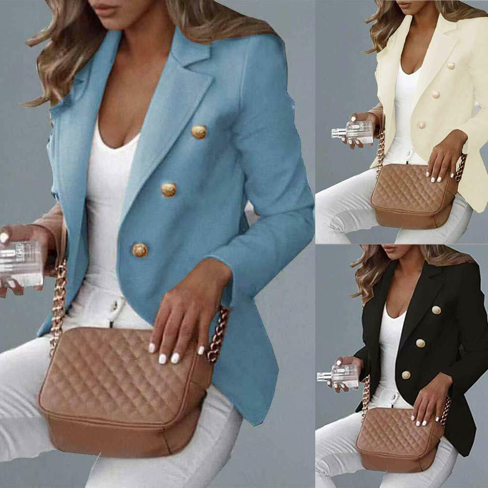 Women Ladies Work OL Button Blazer Slim Jacket Long Sleeve Slim Fit Outwear Suit
