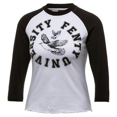 $75 Puma Fenty By Rihanna Damen Rundhals Baby T-shirt Weiß Eis Angenehm Im Nachgeschmack