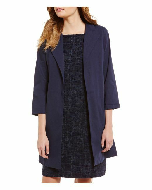 NEW EILEEN FISHER MIDNIGHT POLISHED ORGANIC LINEN STRETCH HIGH COL COAT M