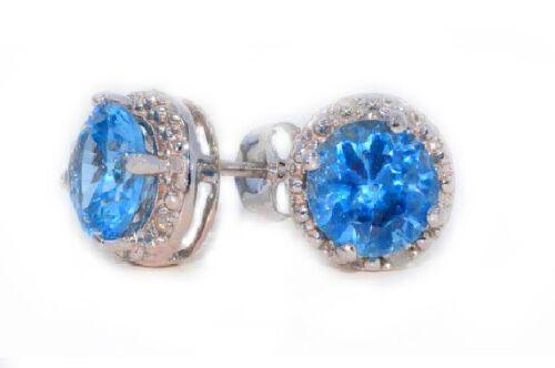 14Kt White Gold Tanzanite /& Diamond Round Stud Earrings