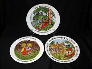 Details about GERMAN NURSERY RHYMES PLATES LOT OF 3