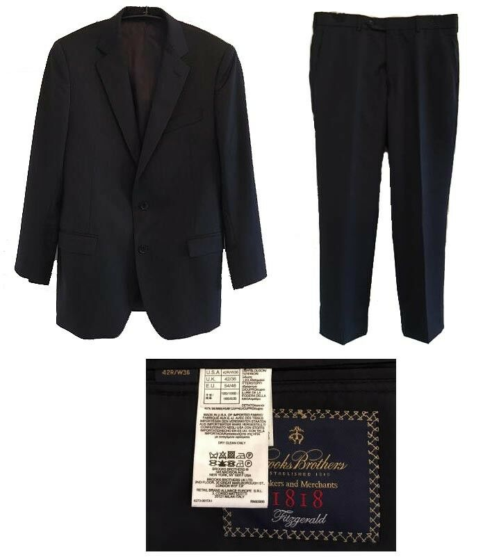 Brooks Brothers 1818 Fitzgeral Estrato Trabaldo Togna Navy Suit Flat Front 42R