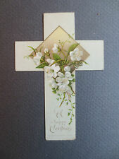 ANTIQUE Greetings BOOKMARK Happy Christmas Cross Shaped Floral Religious OLD