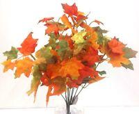 Silk Maple Leaf Bush. 17 T. Orange, Yellow. Artificial