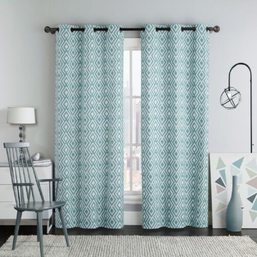 Set of Two Blackout Window Curtains Justin Printed 2PC Grommet Window Panels