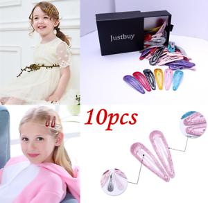 10Pcs Glitter 5cm Snap Hair Clips Pins BB Hairpins Color Metal Barrette Hairgrip