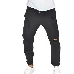28b628ecf9 Dettagli su Pantaloni Jeans uomo nero denim biker chiusura con  bottoni.Cinque tasche strappo