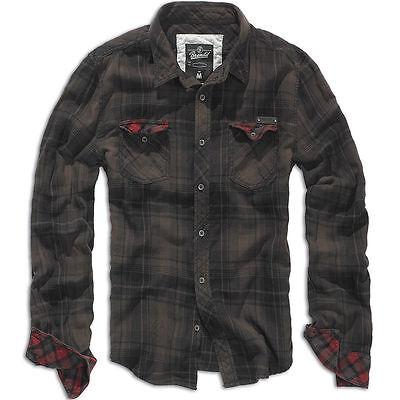 Brandit Duncan Vintage Camicia Uomo Cotone Flanella Manica Lunga Check Marrone Nero-mostra Il Titolo Originale