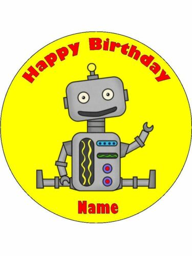 ROBOT 19cm Edible Icing Image Birthday Party Cake Topper Decoration #1