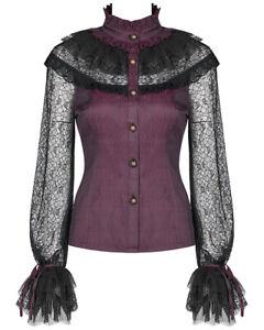 Punk Rave Pyon Womens Gothic Lolita Top Black Lace VTG Victorian Steampunk Tee