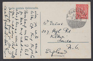 Great Britain Sc 152 on 1913 Paquebot PPC, Aden to England, PYRAMIDS