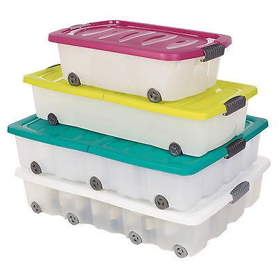 2 x 35L,45L,70L Under Bed Plastic Storage Box Chest Sets Wheeled With Lid Shoes