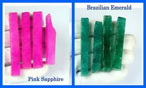 Pink Sapphire & Brazilian Emerald 480 Ct+ Natural 8 Pcs Gemstone Slice Rough Lot