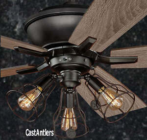 52 INCH EDISON RUSTIC INDUSTRIAL LODGE CAGE CEILING FAN