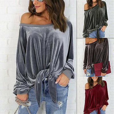 Fashion Women Long Sleeve Off Shoulder Velvet Casual Loose Top T-Shirts Blouse