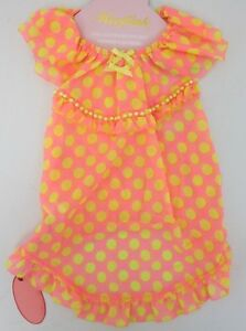 20bff1244312 Wooflink Dogs Baby Doll Polka Dot Dress Size 6 Pink Yellow NWT