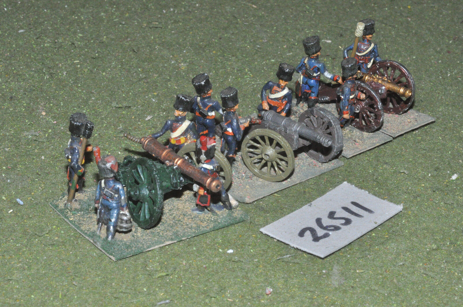 25mm napoleonic   french - 2 guns & crews (as photo) - art (26511)