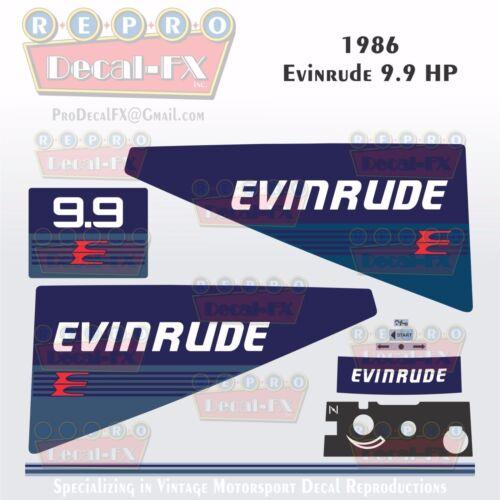 1986 Evinrude 9.9 HP Outboard Reproduction 9 Piece Marine Vinyl Decals 2 Stroke