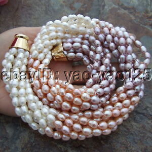 """19/"""" 7 Strands Natural Mixed Color Faceted Tourmaline White Rice Pearl Necklace"""