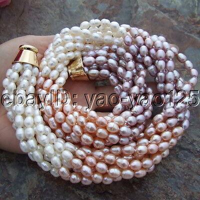 S112411 18/'/' 8 Strands Multi Color Rice Pearl Torsade Necklace