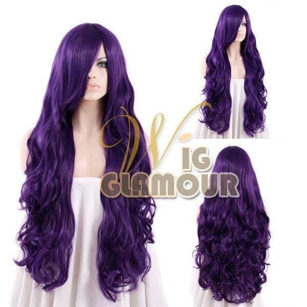 Long 80cm Curly Dark Purple Fashion Hair Wig Heat Resistant