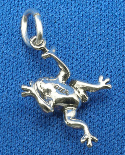 Frog Charm hand crafted sterling silver bracelet necklace pendant
