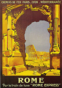 1921 Rome Italy Italian Europe Vintage Art Travel Advertisement Poster Print