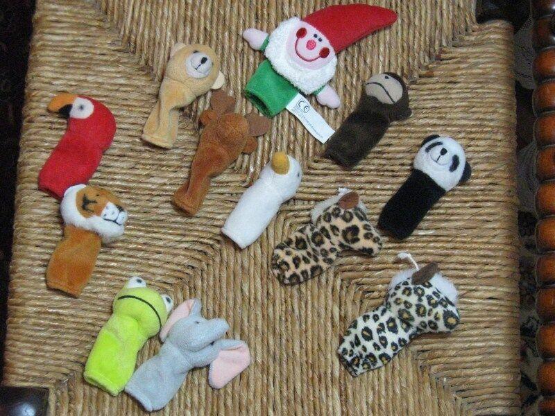 Set of 12 Dutch Assorted Animal Finger Puppets Monkey Panda Gnome