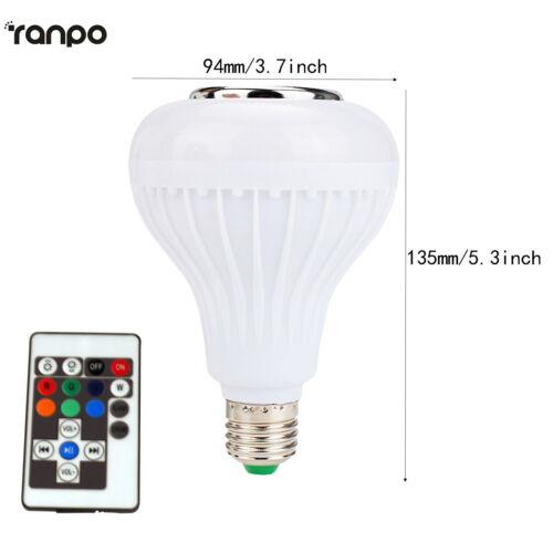 LED Wireless Bluetooth Bulb Light Speaker 12W RGB Smart Music Play Lamp Remote