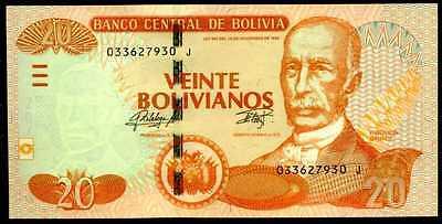 1986 Bolivia 20 Bolivianos 2015 P-244 Unc
