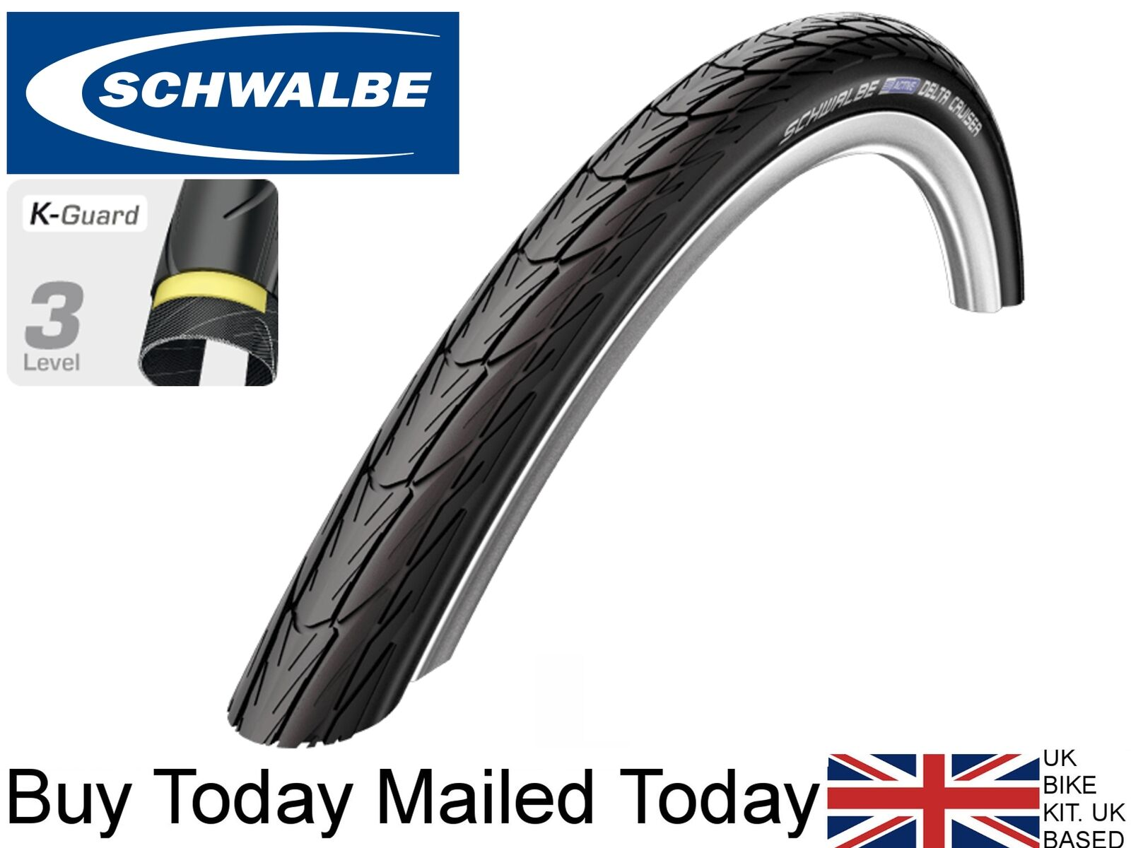 26 x 1-3 8  SCHWALBE Delta Cruiser made with Kevlar Anti Puncture Bike Tyre Tube
