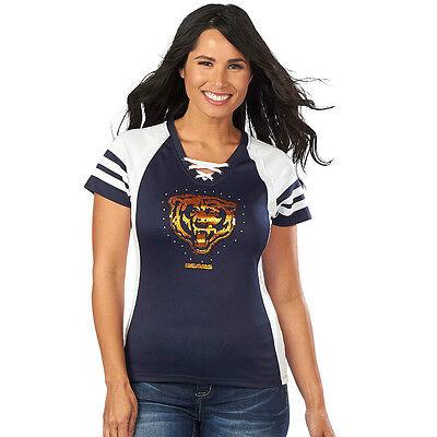 Majestic Chicago Bears Draft Me Tee Shirt Sequin Jersey Women Size S M L XL XXL