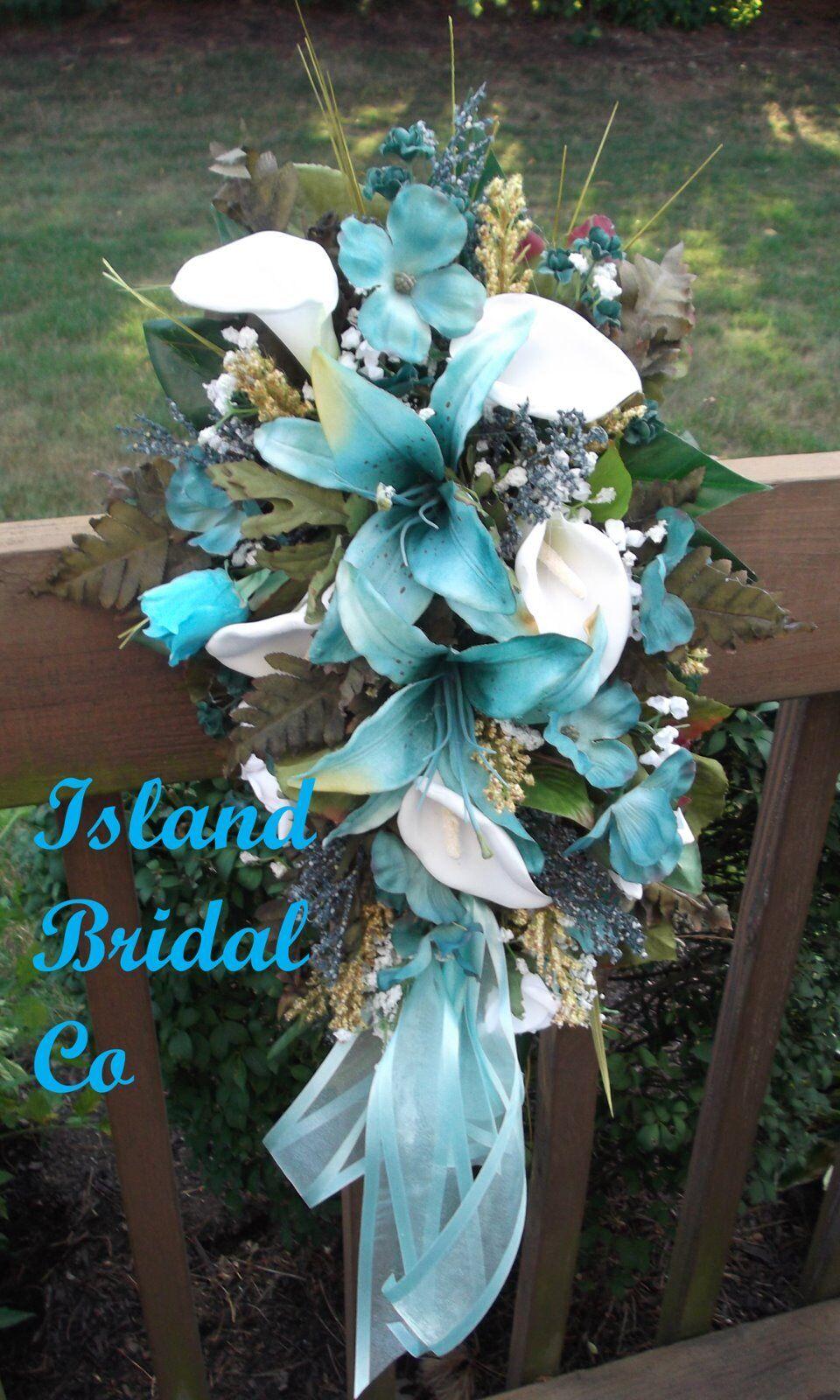 Soie De Mariée Fleur Mariage Bouquet set 10 pc turquoise, lys
