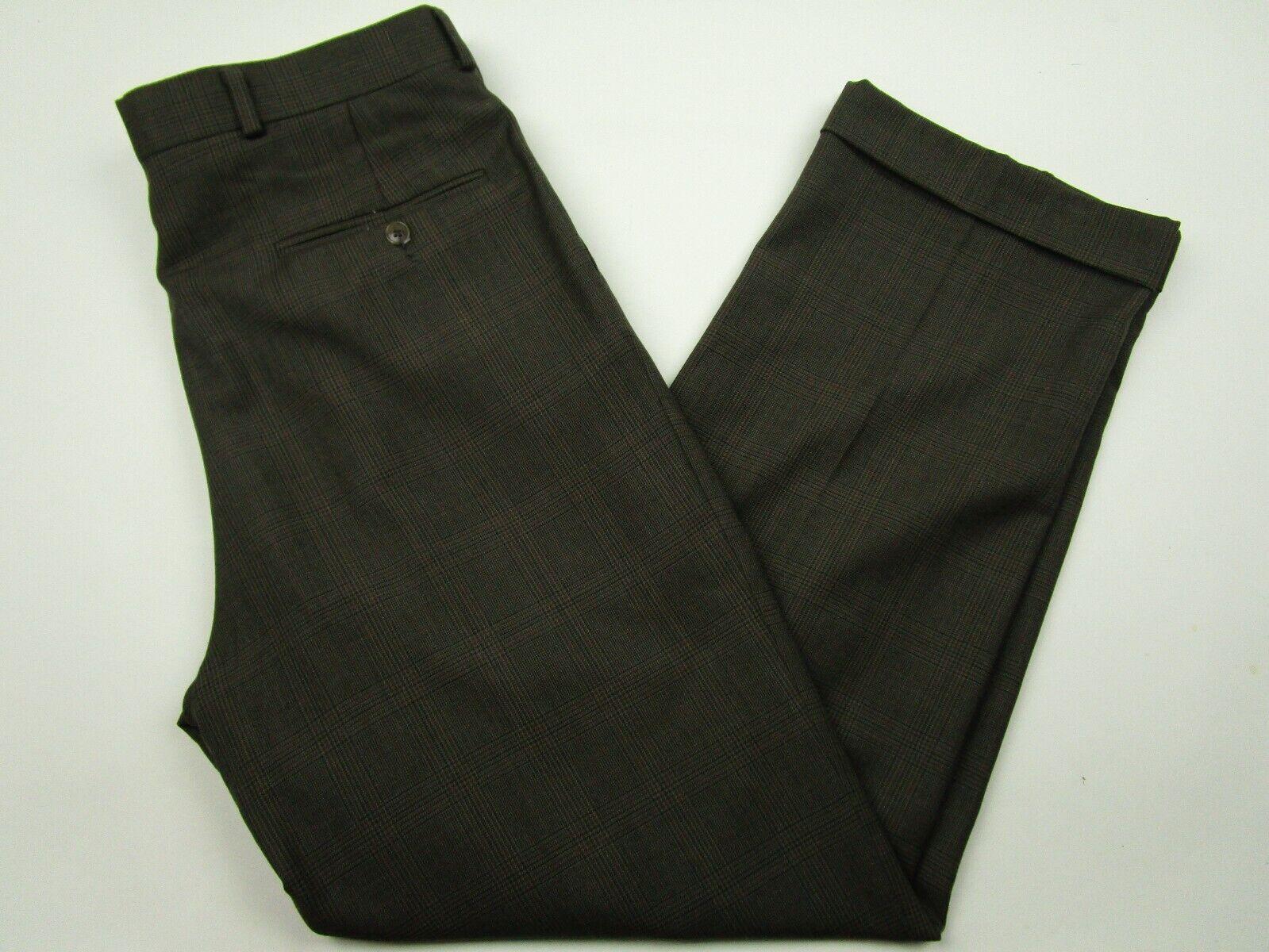 Mens Ralph Ralph Lauren 32x30 Brown Plaid 100% Wool Pleated Dress Pants
