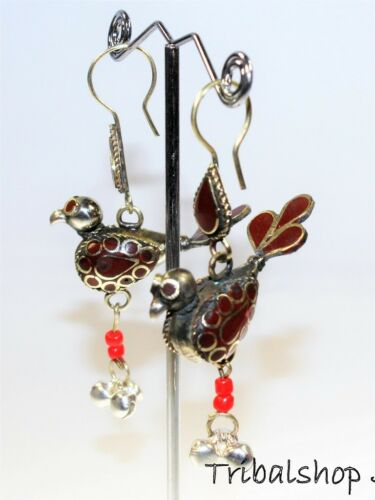 Handarbeit Kuchi-Vogelohrringe Tribal Ohrringe Hippie-Ohrringe