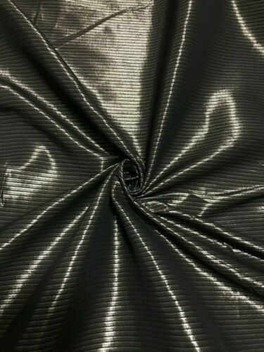 BLACK AND LIGHT BROWN STRIPED STRETCH SHINY SHIRT FABRIC-SOLD BY THE METER