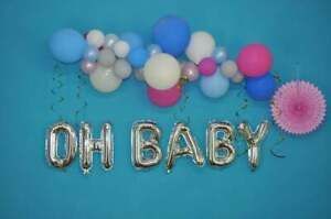 OH-BABY-Rose-Gold-Silver-Letters-Foil-16-034-Balloons-Baby-Shower-Gender-Reveal