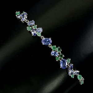 Unheated-Oval-Blue-Tanzanite-6x4mm-Emerald-925-Sterling-Silver-Bracelet-7-5-Inch
