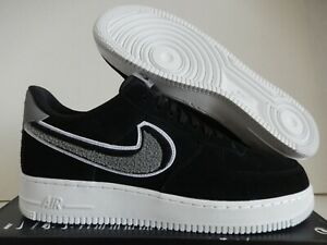 Details about NIKE AIR FORCE 1 07 LV8 3D CHENILLE SWOOSH BLACK-COOL GREY SZ  12 [823511-014]