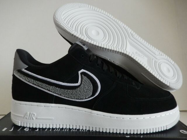 NIKE AIR FORCE 1 07 LV8 3D CHENILLE SWOOSH BLACK COOL GREY SZ 12 [823511 014]