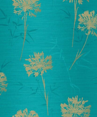 Papier peint toile ASIA fleurs turquoise or paillettes Arthouse 293002 11,59 €//1qm