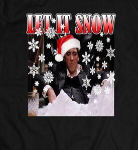 Scarface Tony Montana Let It Snow Xmas Oldskool Full Front Shirt