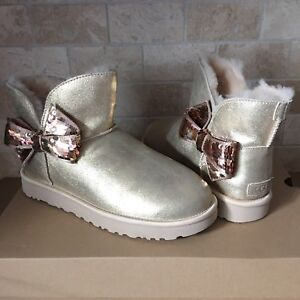 93a2a455c8d Details about UGG MINI BAILEY SEQUIN BOW GOLD SUEDE SHEEPSKIN BOOTS SIZE US  5 WOMENS