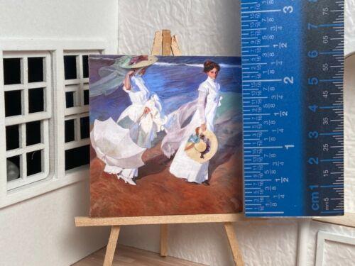 Miniature Dollhouse Room Box Wall Art Victorian Woman at Beach Handmade