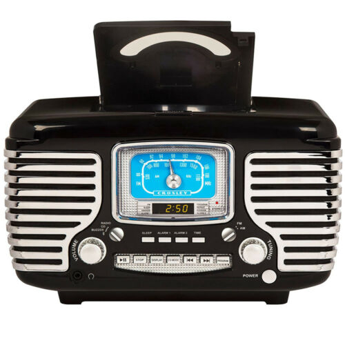 Crosley CR612-BK Black Corsair Retro AM//FM Radio Dual Alarm Clock CD Player