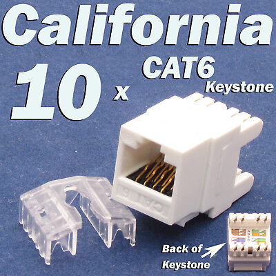 10 Pcs Keystone 8P8C CAT6 RJ45 Network 110 Style Socket Punch Down Jack White