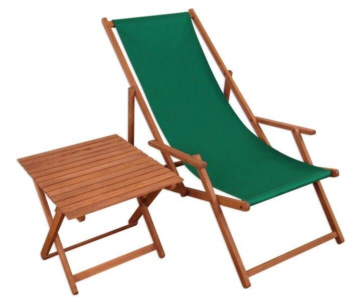 Sedia a Sdraio Giardino Lettino Prendisole Rilassanti verde con Tavolo 10-304 T