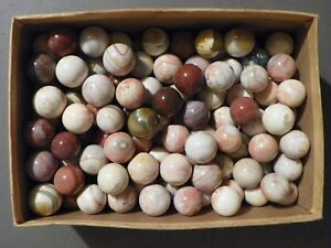 Agate And Or Jasper Marbles 3 of 3/4 to 7/8 Inch Natural Gemstones Vintage